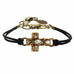 Clear Crystal Gold Cross Leather Bracelet by Michal Golan