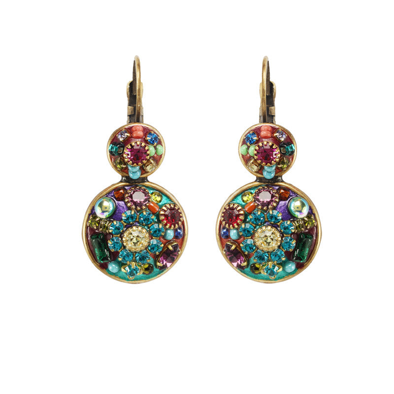 Multi Bright Double Circle Earrings by Michal Golan