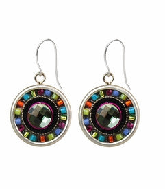 Multi Color Mosaic Roulette Earrings by Firefly Jewelry