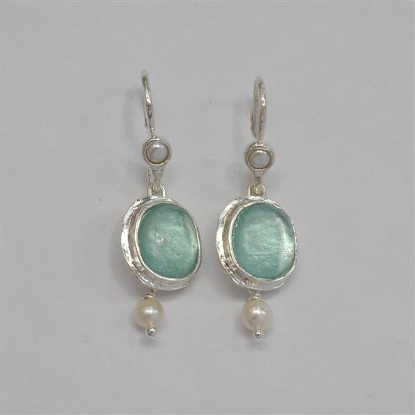 Oval Dangle Washed Roman Glass Earrings with Pearl