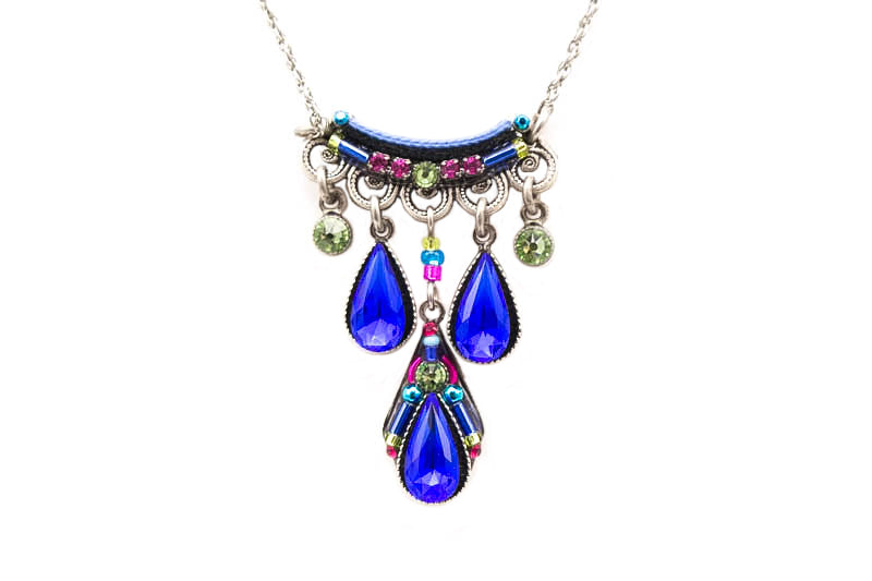 Royal Blue Camelia Three Drop Necklace by Firefly Jewelry