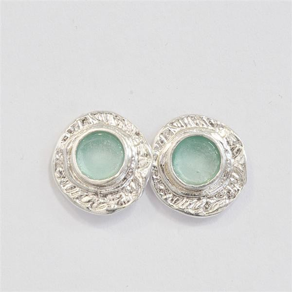 Wide Framed Round Washed Roman Glass Post Earrings