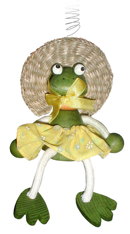 Frog With Dress Handcrafted Wooden Jumpie