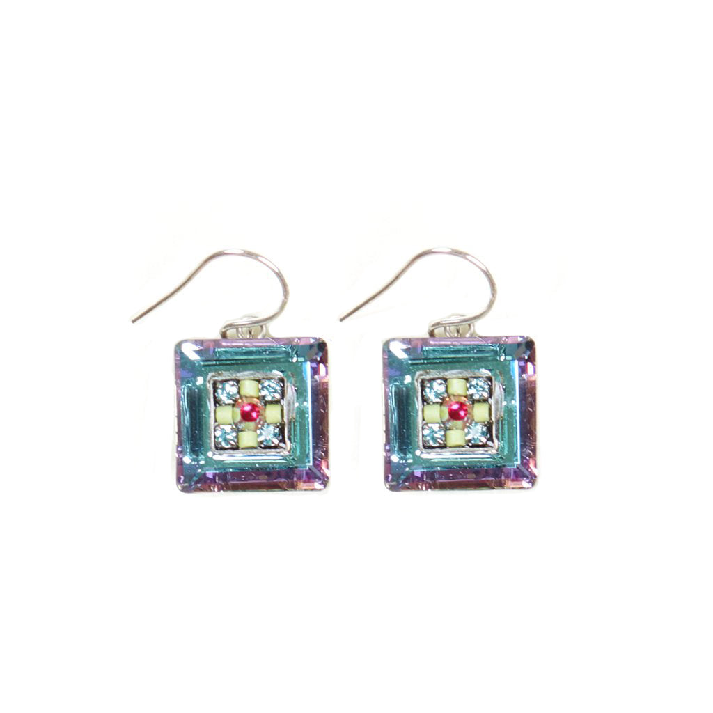 Soft La Dolce Vita Crystal Square Earrings by Firefly Jewelry