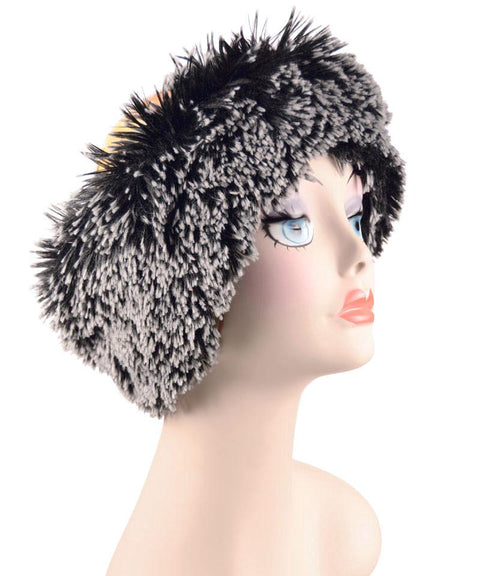 Silver Tipped Fox in Black Luxury Faux Fur Headband