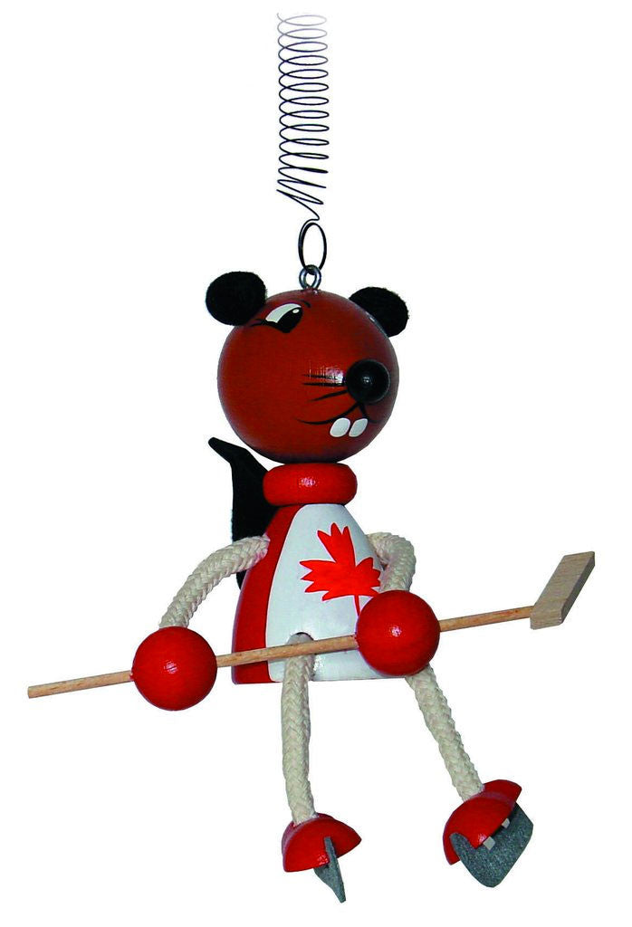 Canadian Beaver Hockey Player Handcrafted Wooden Jumpie