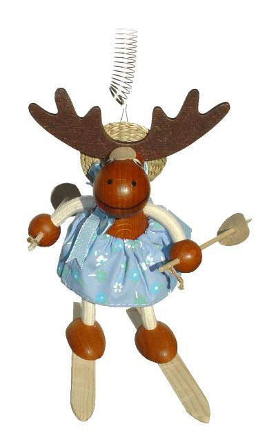 Moose Girl With Skis Handcrafted Wooden Jumpie