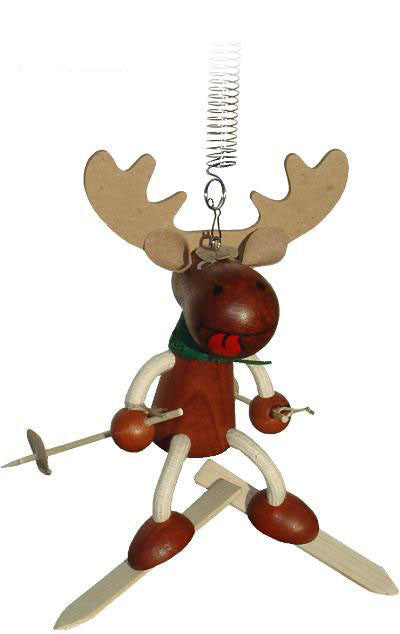 Moose With Skis Handcrafted Wooden Jumpie