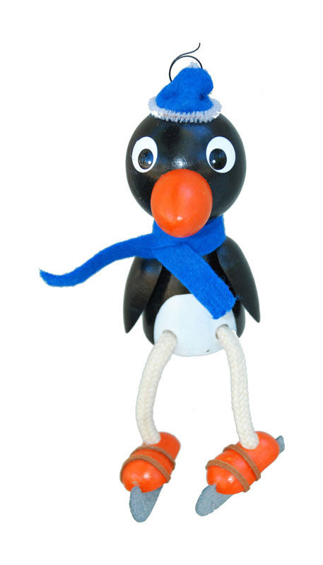 Penguin On Ice Skates Handcrafted Wooden Jumpie