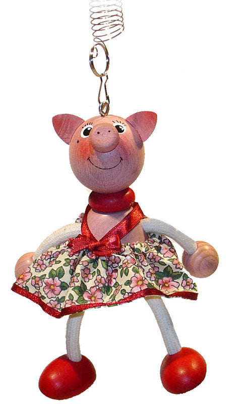Piggy With Dress Handcrafted Wooden Jumpie