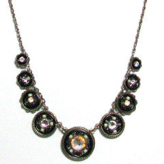 Black and White La Dolce Vita Circles Necklace by Firefly Jewelry