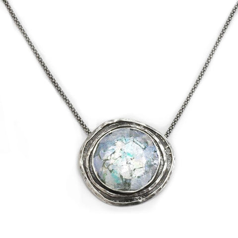 Channel Framed Round Patina Roman Glass Necklace
