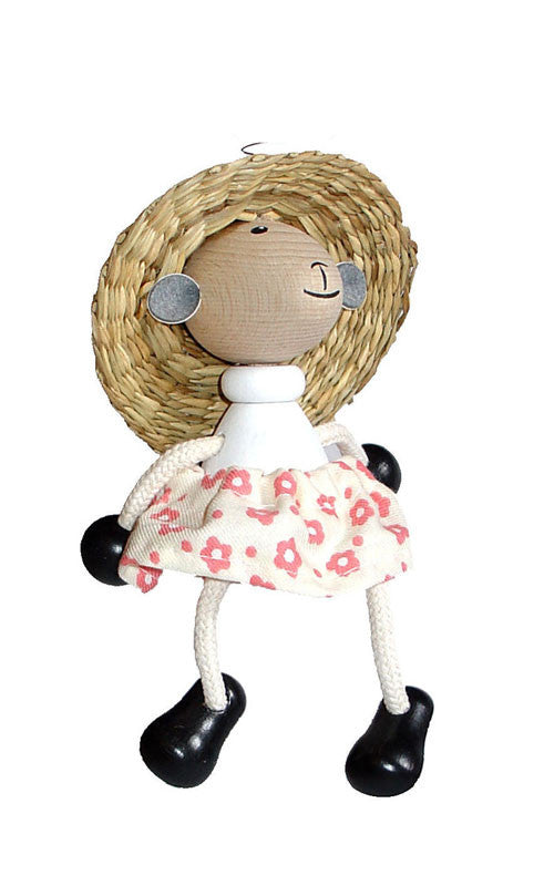 Sheep Girl Handcrafted Wooden Jumpie