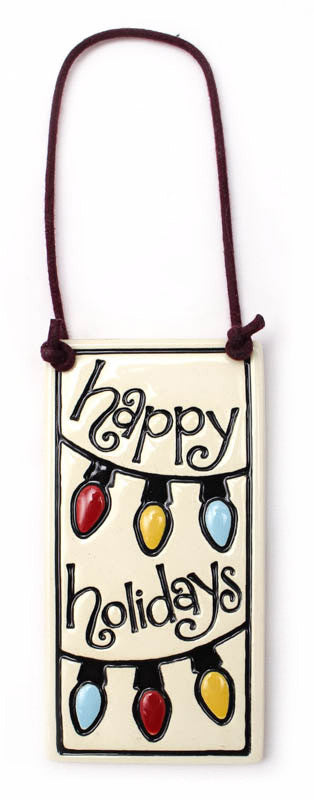 Happy Holidays Wine Tag Ceramic Tile