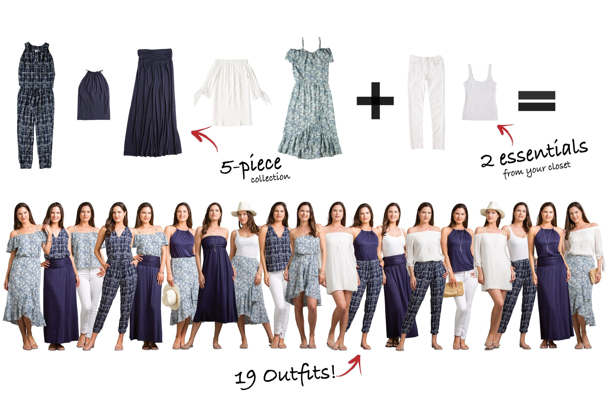 Avalon Collection: 5 items = 19 outfits