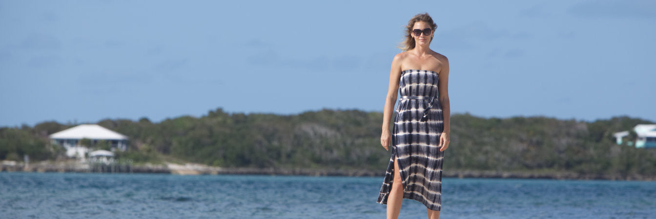Vacay Black Tie Dye Dress on location in Bahamas