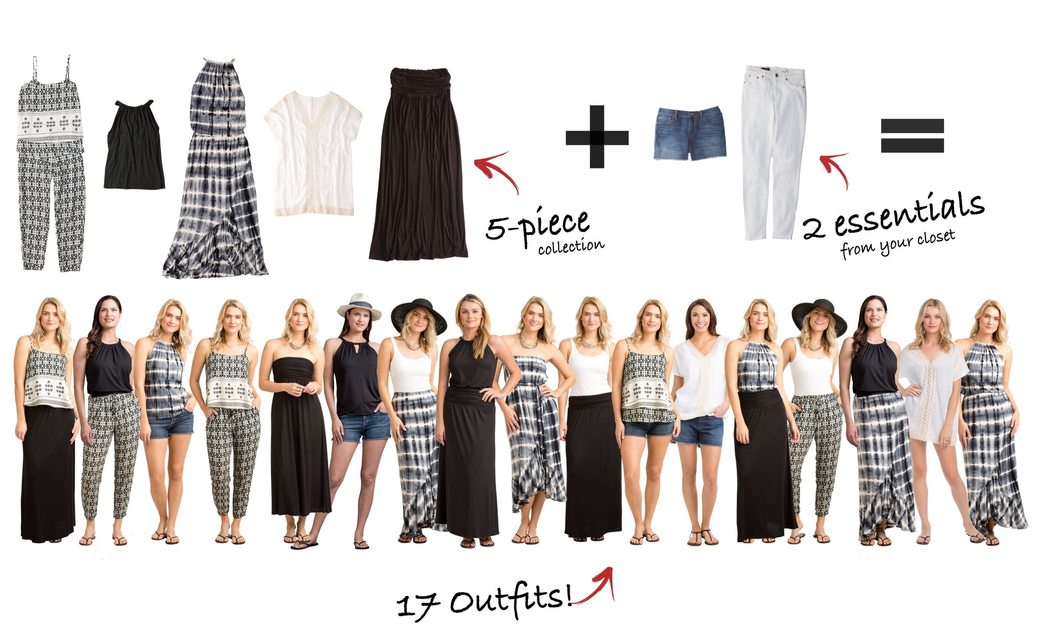 Costa Rica Collection: 5 items = 17 outfits