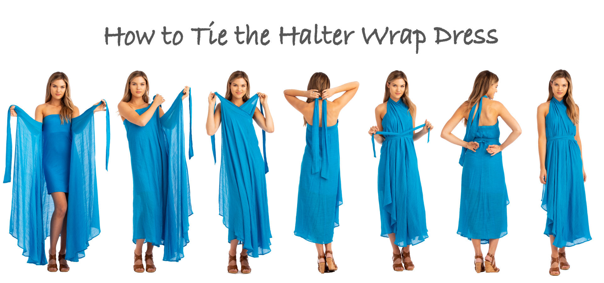 How to tie the Vacay Convertible Wrap Halter Dress