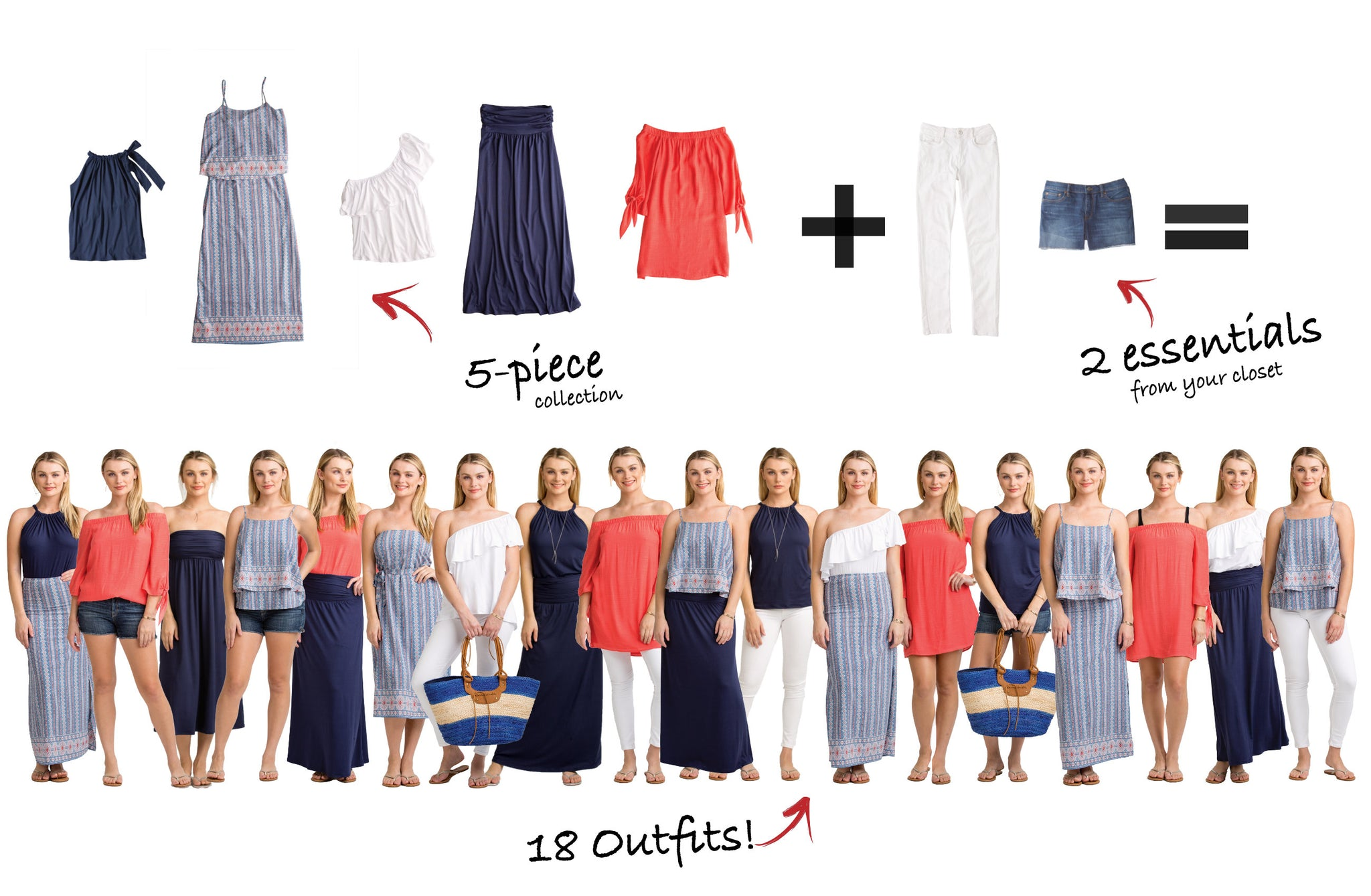 The Hamptons Collection: 5 items = 18 outfits