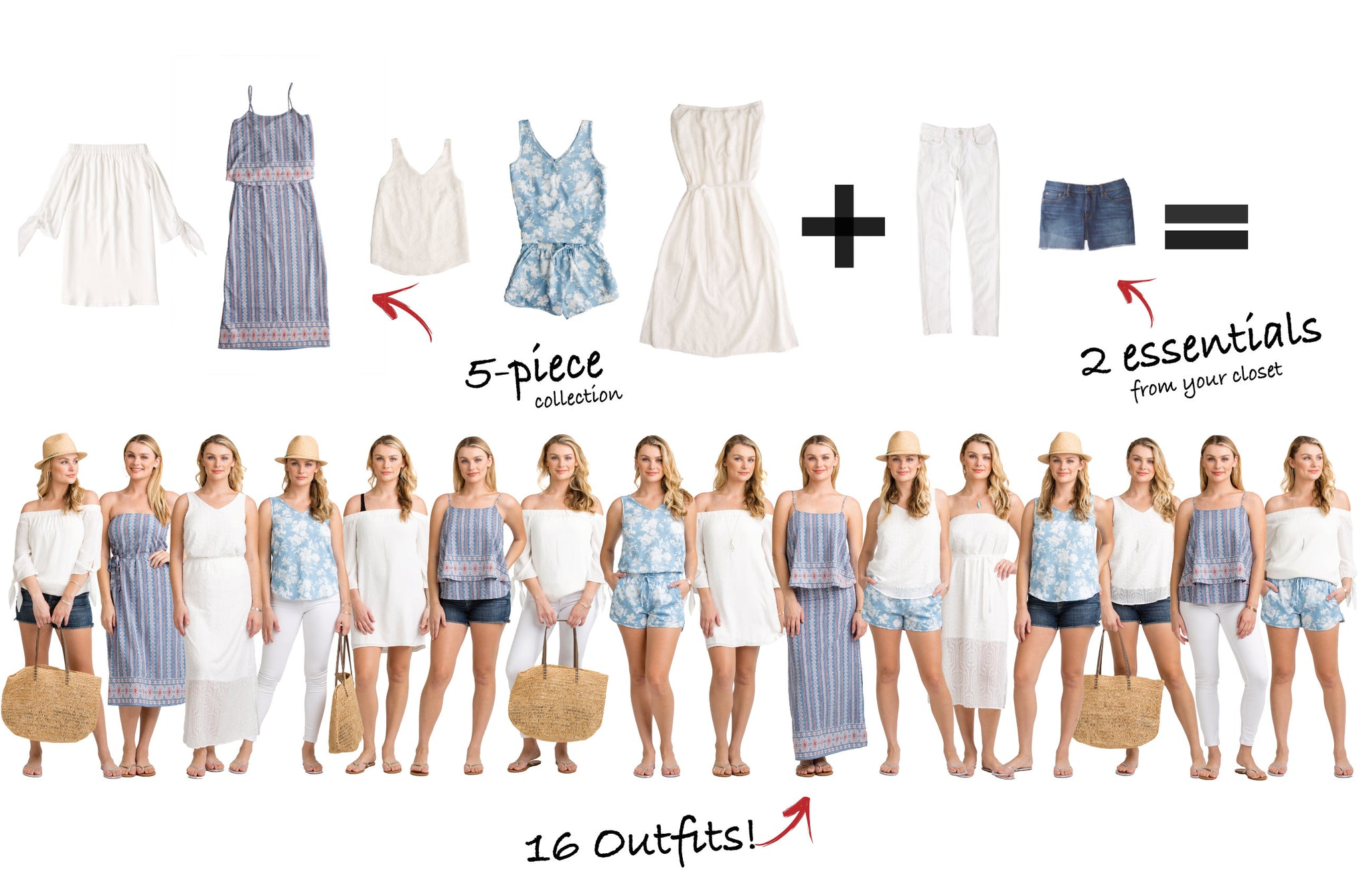 Hanalei Collection: 5 items = 16 outfits