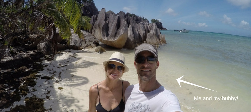 Vacay Founder Elizabeth and her husband in the Seychelles