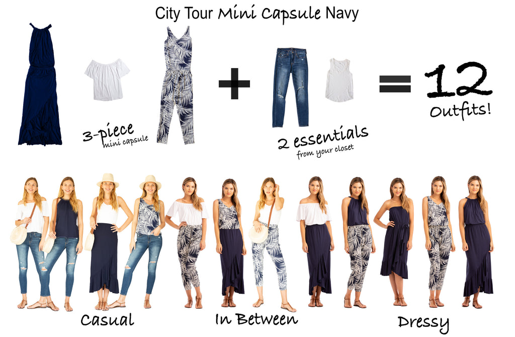 City Tour Navy Mini Capsule 3 items 12 outfits