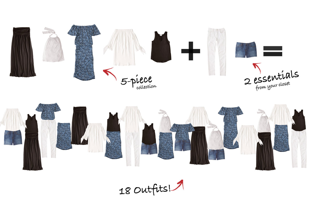 Moorea Collection: 5 items = 18 outfits