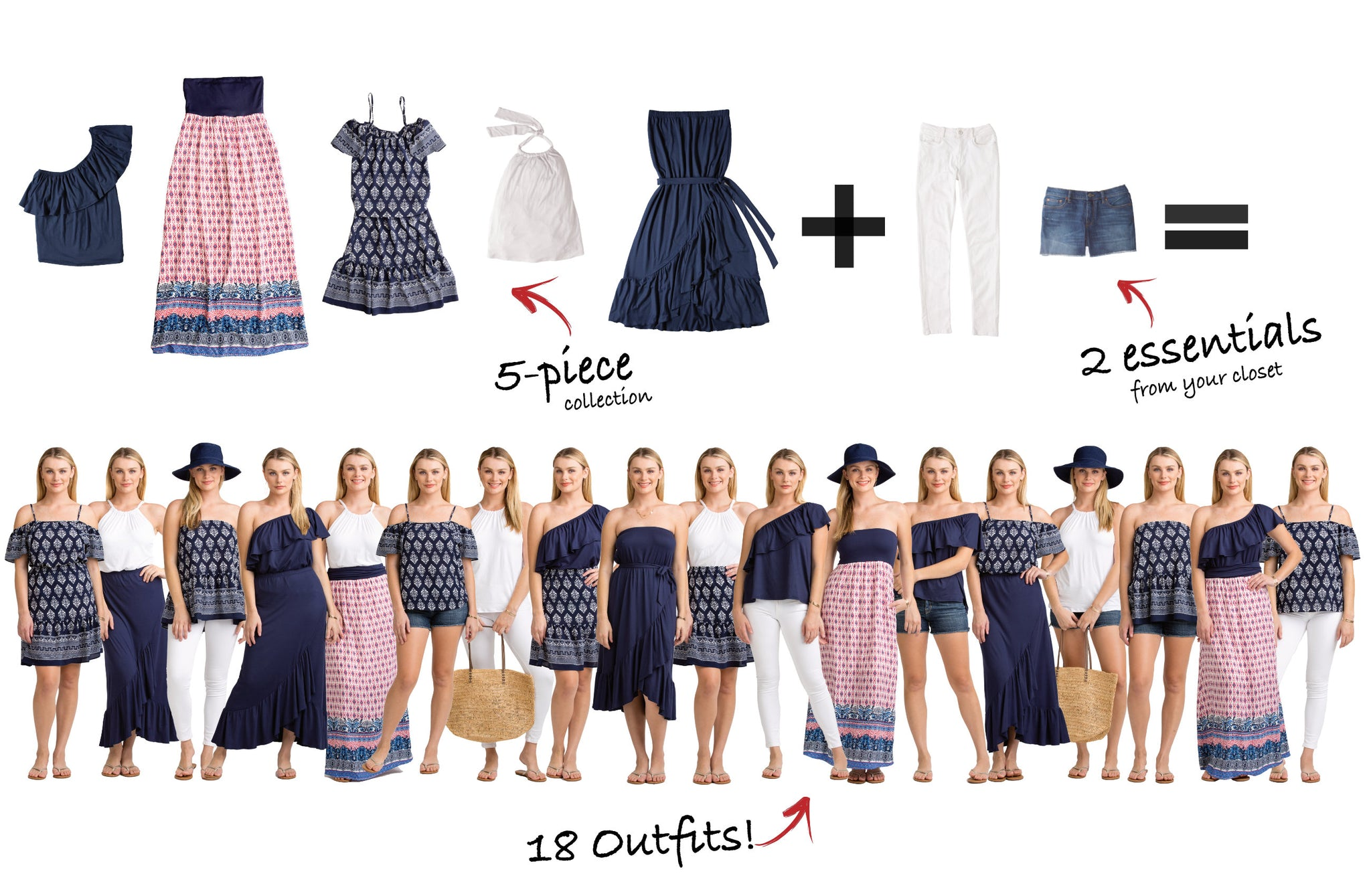 Nantucket Collection: 5 items = 18 outfits
