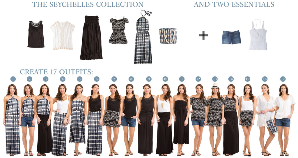 Seychelles Collection image: 5 items = 15 outfits
