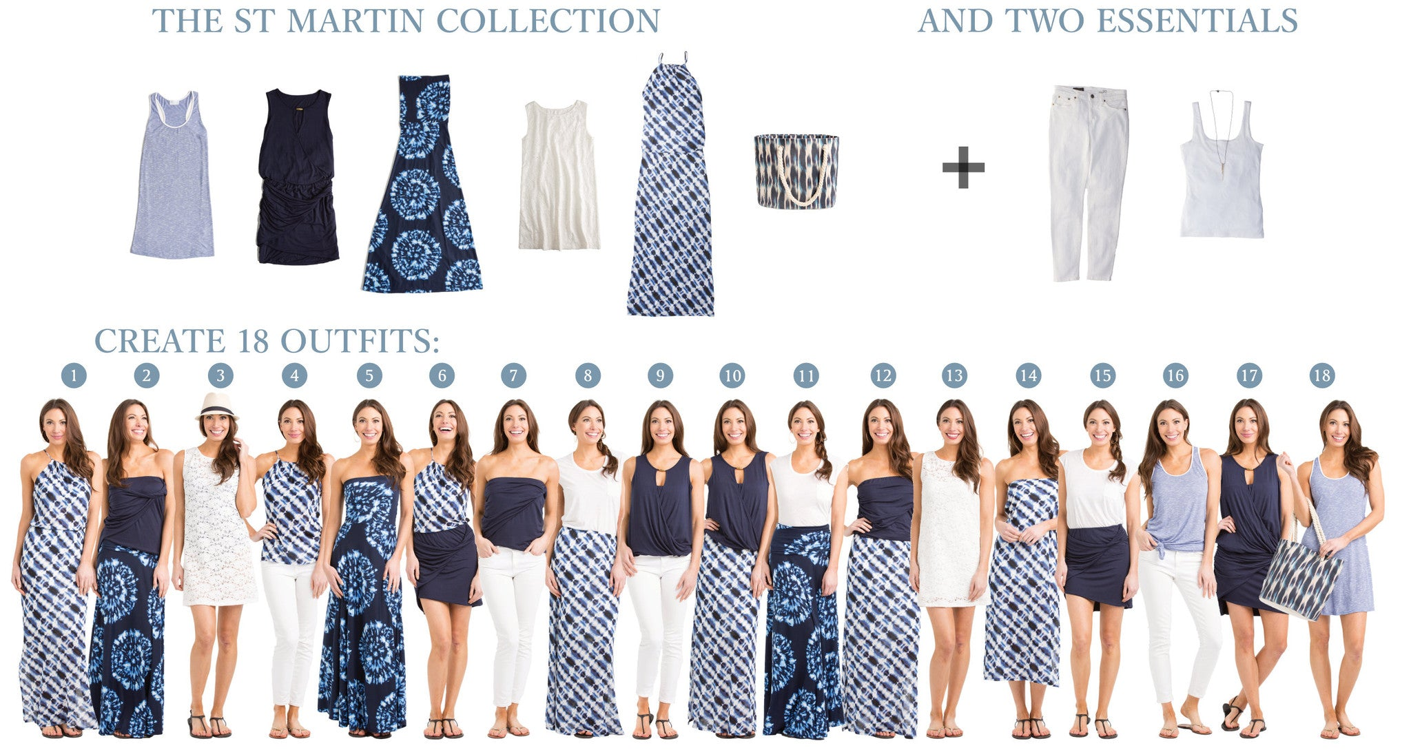 St. Martin Collection: 5 items = 18 outfits