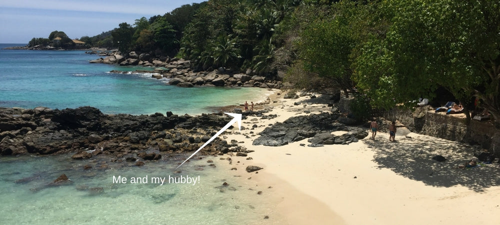 Vacay Founder Elizabeth in the Seychelles on beach