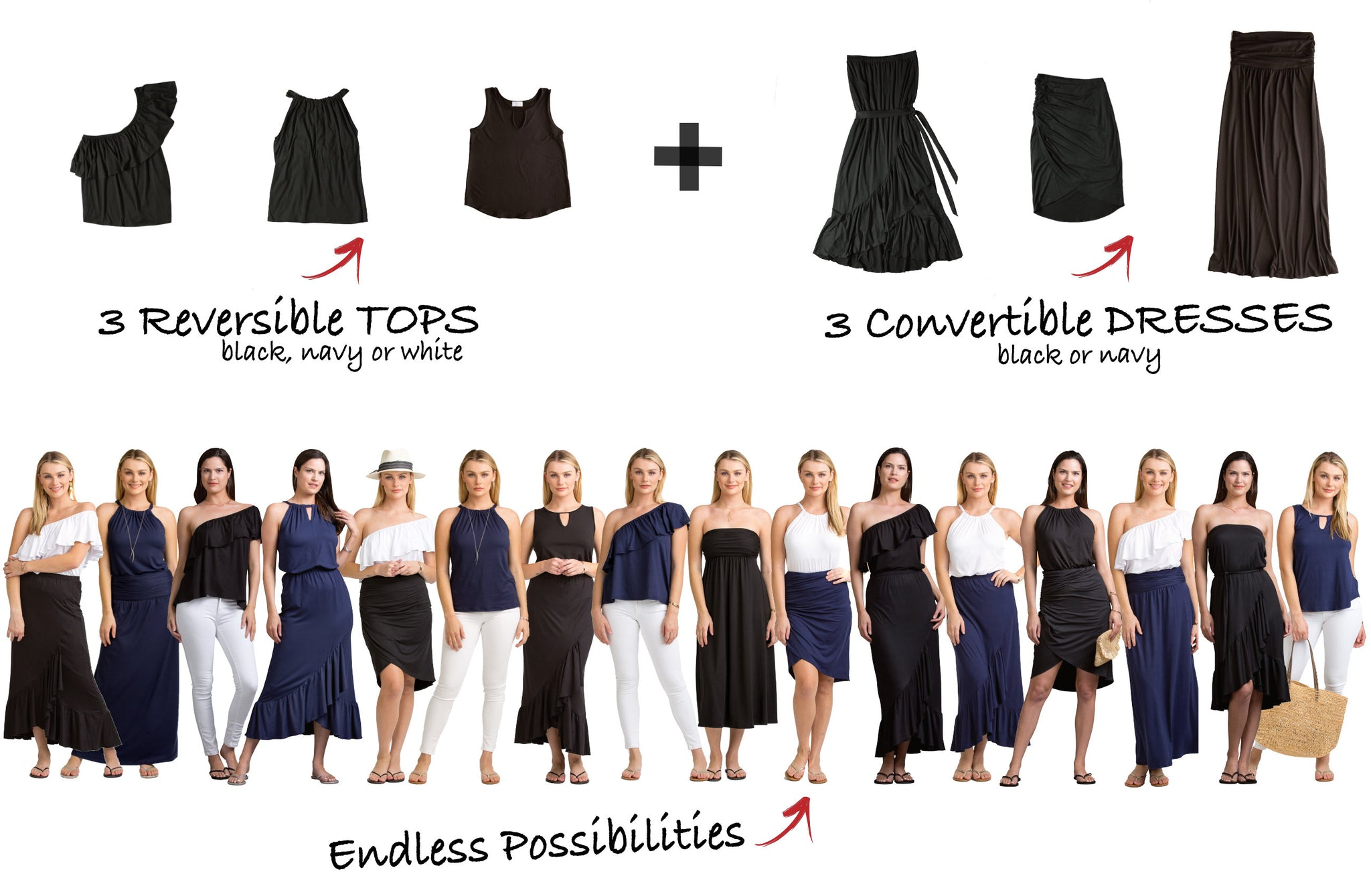 Vacay Versatiles 3 tops, 3 dresses, endless possibilities