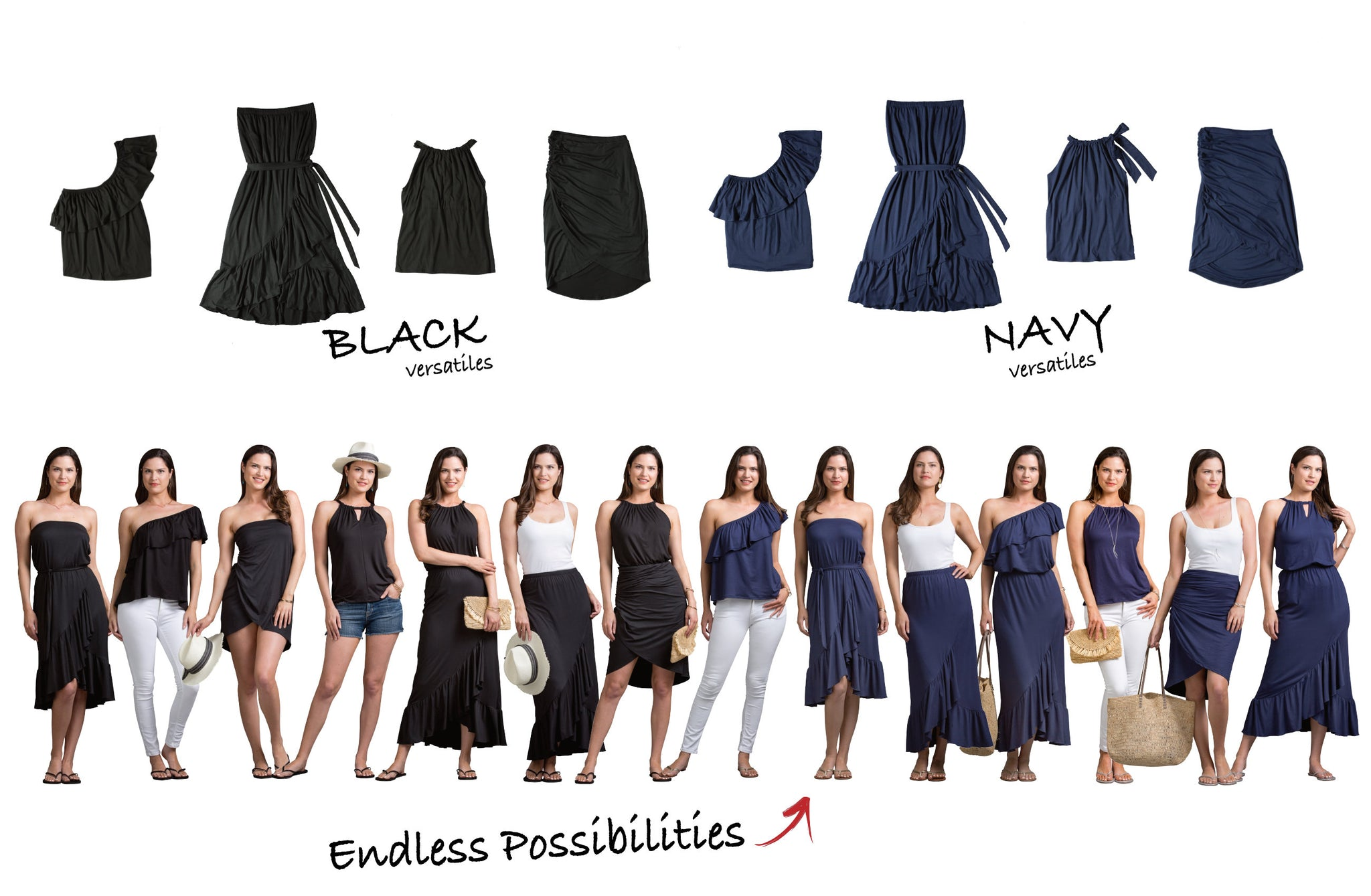 Vacay Versatiles Black and Navy Collection