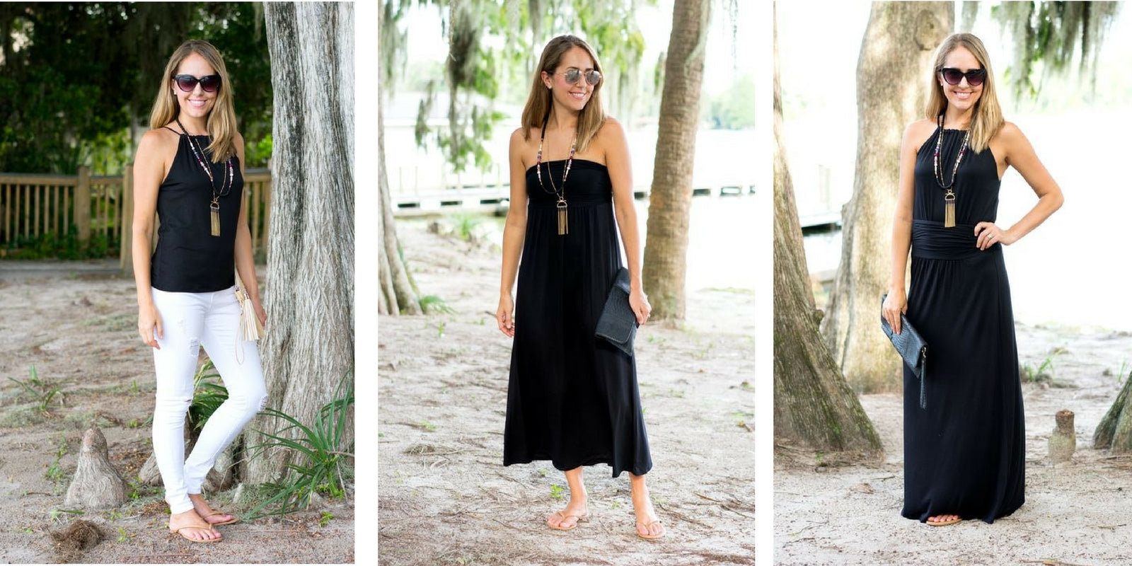 J's Everyday Fashion in Vacay's Perfect Black Top + Vacay LBD