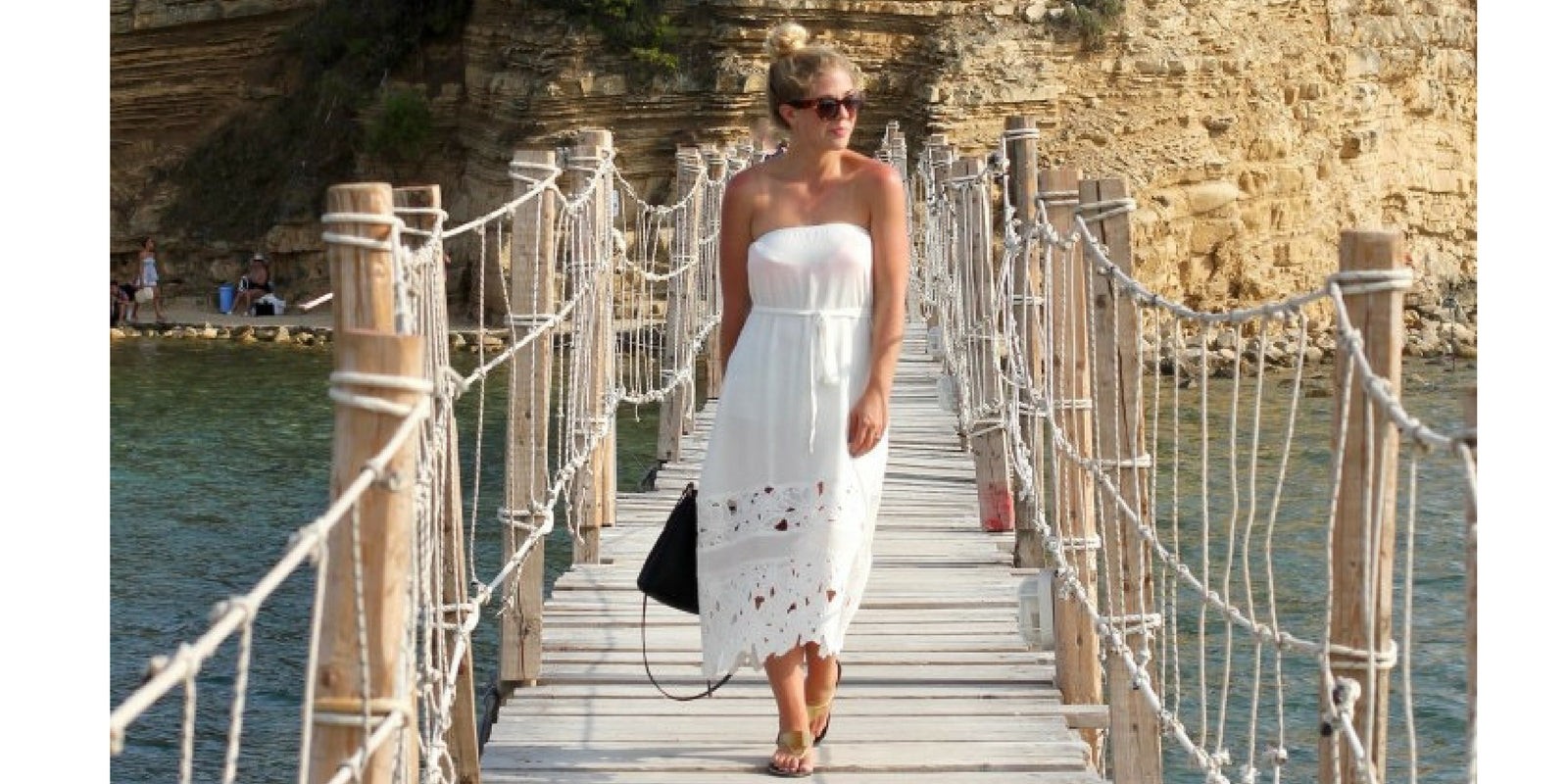 The Belle Abroad in Vacay Lace Convertible Dress in Greece