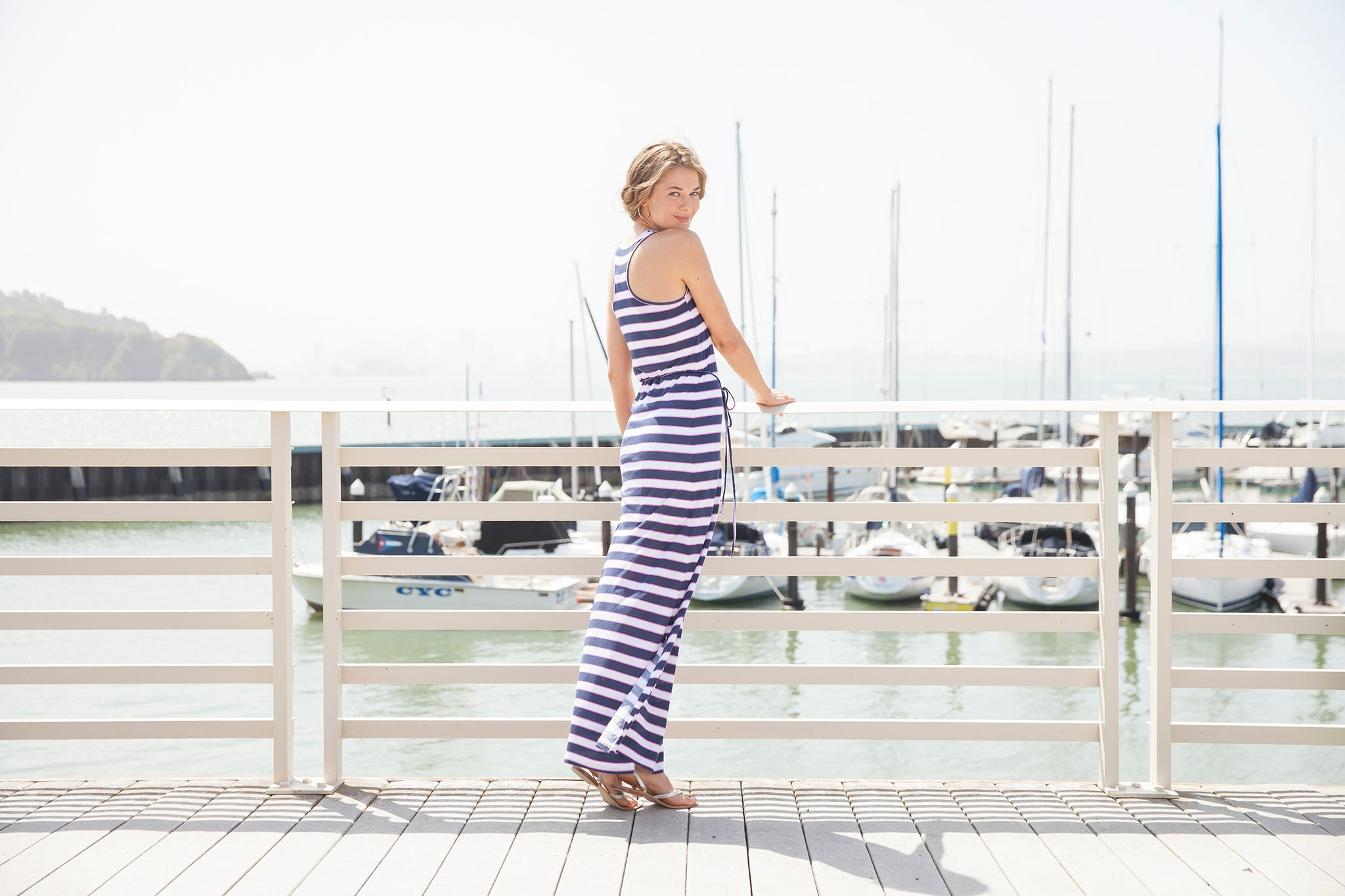 Vacay Nantucket Stripe Racerback Maxi Dress on location