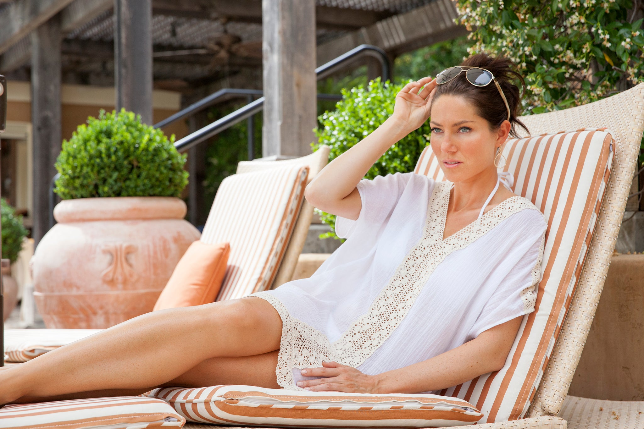 Vacay Crochet Trim Caftan on location