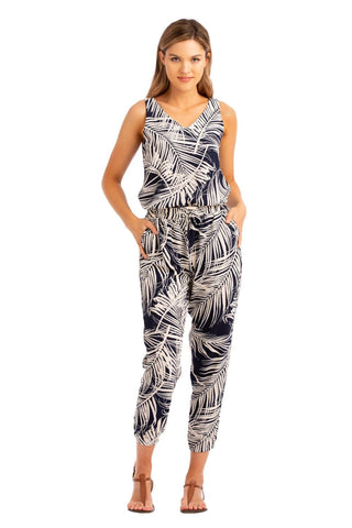 Vacay Navy Palm 2-Piece Jumpsuit