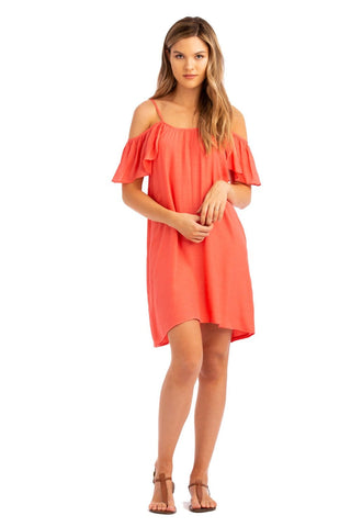 Vacay Cold Shoulder Dress Coral