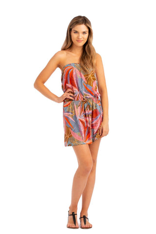 Vacay Strapless Mini Tropical Print