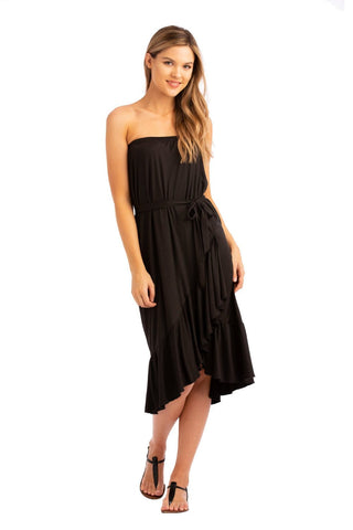 VV Convertible Tiered Dress Black