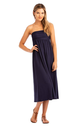 VV Convertible Ruched Dress Navy