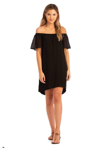 Vacay Lace Sleeve Off Shoulder Dress Black