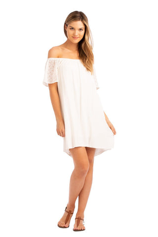 Vacay Lace Sleeve Off Shoulder Dress White