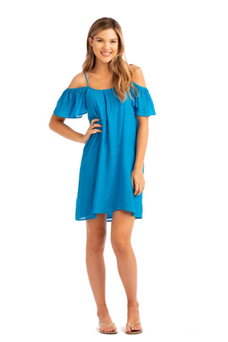 Vacay Cold Shoulder Dress Turquoise