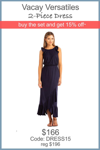 "VV 2-Piece Dress ""Ruffle + Tiered"" Navy"