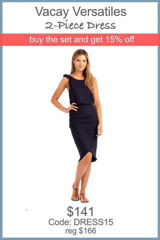 "VV 2-Piece Dress ""Ruffle + Twist"" Navy"
