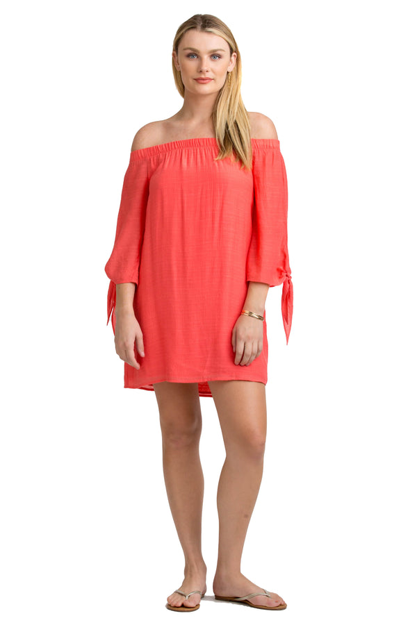 Vacay off the shoulder dress coral front