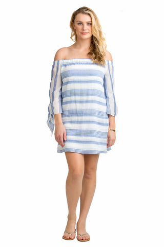 Vacay Off-The-Shoulder Dress Stripe