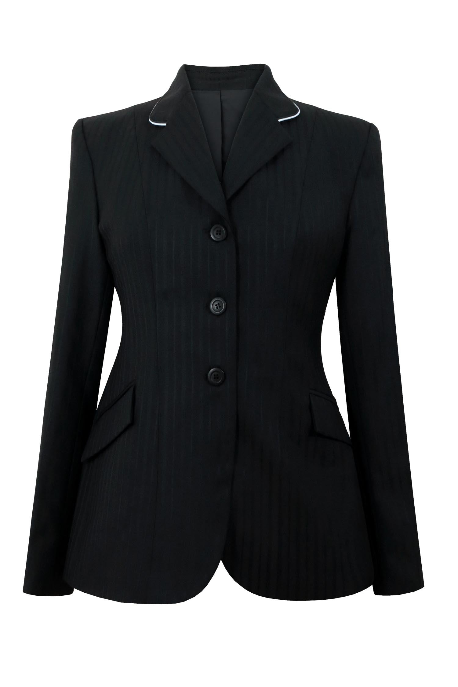 Black multi stripe wool jacket with high sheen. Collar is white piping.
